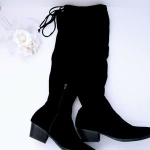 Over the Knee Black Suede Soft Low Heel Boots
